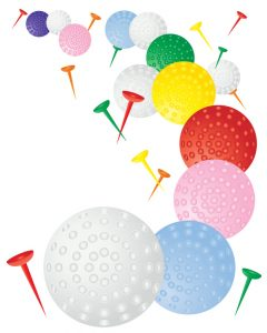 an illustration of colorful golf balls on a white background